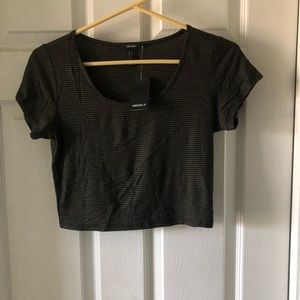 NWT Forever 21 Black and Olive Crop Top